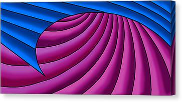 Canvas Print featuring the digital art Wave - Blue And Plum by Judi Quelland