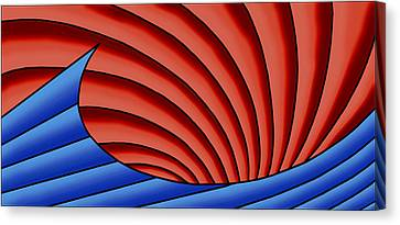 Canvas Print featuring the digital art Wave - Blue And Red by Judi Quelland