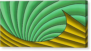 Canvas Print featuring the digital art Wave  - Gold And Green by Judi Quelland