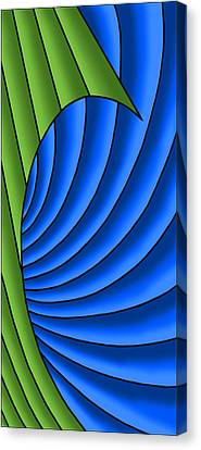 Canvas Print featuring the digital art Wave - Green And Blue by Judi Quelland