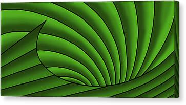 Canvas Print featuring the digital art Wave - Greens by Judi Quelland