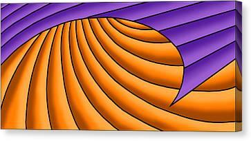 Canvas Print featuring the digital art Wave - Purple And Orange by Judi Quelland