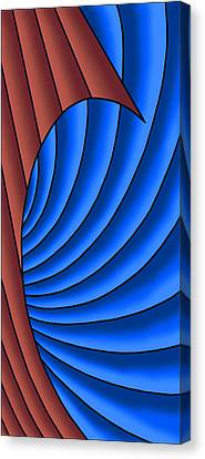 Canvas Print featuring the digital art Wave - Red And Blue by Judi Quelland