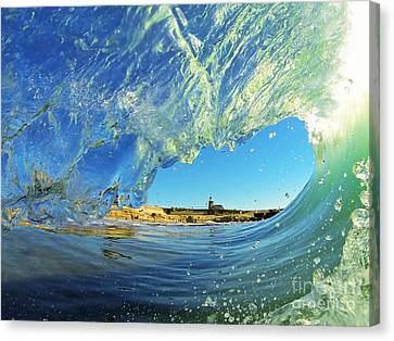 Wave And Lighthouse 1 Canvas Print by Paul Topp