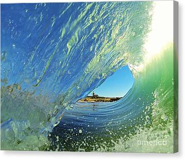 Canvas Print featuring the photograph Wave And Lighthouse 2 by Paul Topp