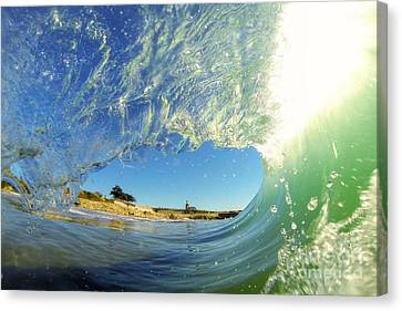 Canvas Print featuring the photograph Wave And Lighthouse 3 by Paul Topp