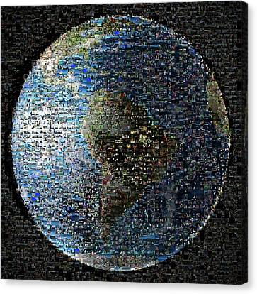 Wave At Earth Mosaic Canvas Print by Nasa/jpl-caltech