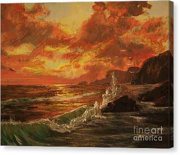 Canvas Print featuring the painting Wave Crash by Vanessa Palomino