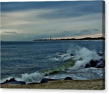 Canvas Print featuring the photograph Wave Crashing At Cape May Cove by Ed Sweeney