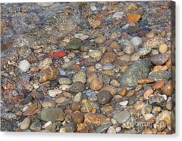 Wave Over Beautiful Rocks Canvas Print by Carol Groenen