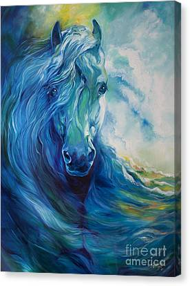 Abstract Equine Canvas Print - Wave Runner Blue Ghost Equine by Marcia Baldwin