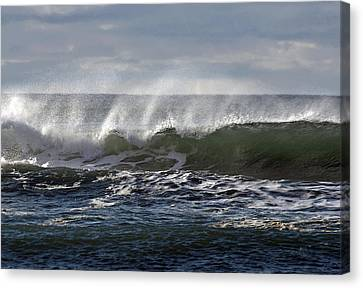 Wave With Wind Canvas Print by Michael Bruce