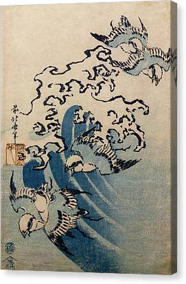 Waves And Birds Canvas Print by Katsushika Hokusai