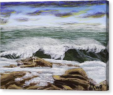 Waves And Rocks Seascape Canvas Print by Keith Webber Jr