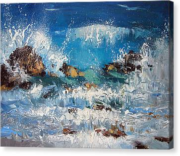 Waves And Stones Canvas Print by Dmitry Spiros
