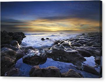 Waves At Coral Cove Beach Canvas Print by Debra and Dave Vanderlaan