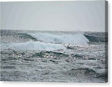 Waves At Koloa Canvas Print by P S
