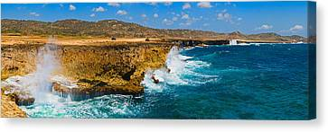 Waves Breaking At The Coast, Aruba Canvas Print by Panoramic Images