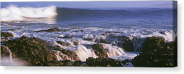 Baja California Canvas Print - Waves Breaking On The Beach, Playa Los by Panoramic Images