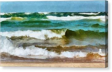 Waves Crash Canvas Print by Michelle Calkins