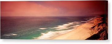 Sandy Beach Canvas Print - Waves Crashing Into Stormy Coast, San by Panoramic Images
