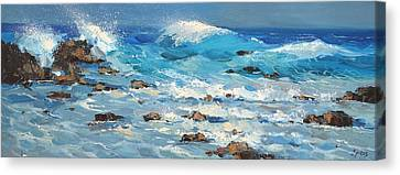 Canvas Print featuring the painting Waves by Dmitry Spiros