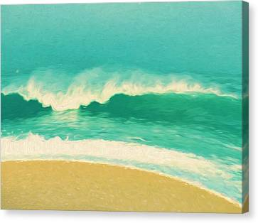 Canvas Print featuring the painting Waves by Douglas MooreZart