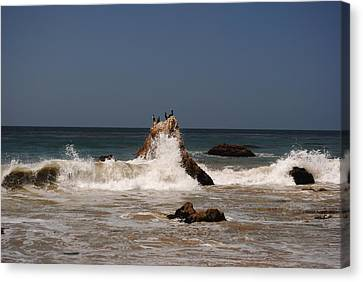 Canvas Print featuring the photograph Waves In Malibu by Robert  Moss