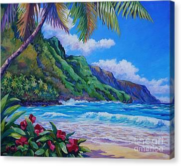 Waves On Na Pali Shore Canvas Print by John Clark