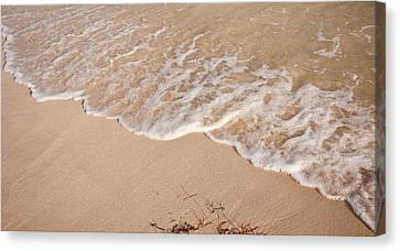 Waves On The Beach Canvas Print by Adam Romanowicz