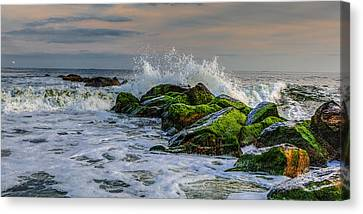 Waves On The Jetty Canvas Print by David Hahn