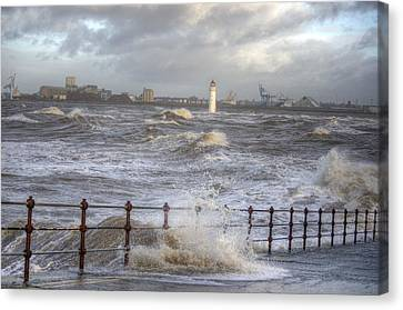 Waves On The Slipway Canvas Print