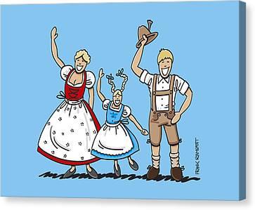 Waving Dirndl And Lederhosen Family Canvas Print by Frank Ramspott