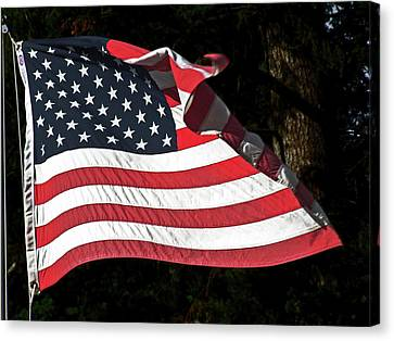 Canvas Print featuring the photograph Waving Flag by Ron Roberts