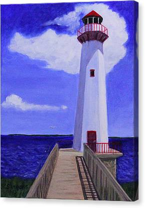 Canvas Print featuring the painting Wawatam Lighthouse by Janet Greer Sammons