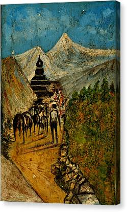 Way To God At Himalayas Canvas Print by Anand Swaroop Manchiraju