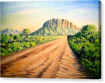 Canvas Print featuring the painting Way To Maralal by Anthony Mwangi