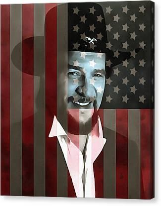 Waylon Jennings American Outlaw Canvas Print by Dan Sproul