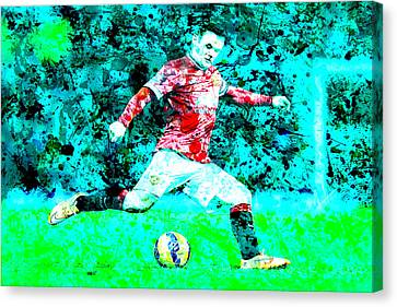 Wayne Rooney Canvas Print - Wayne Rooney Splats by Brian Reaves