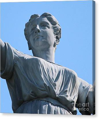 Canvas Print featuring the photograph Waynesburg University Statue by Cynthia Snyder