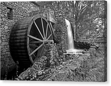 Wayside Inn Grist Mill Canvas Print - Wayside Inn Grist Mill Black And White by Toby McGuire