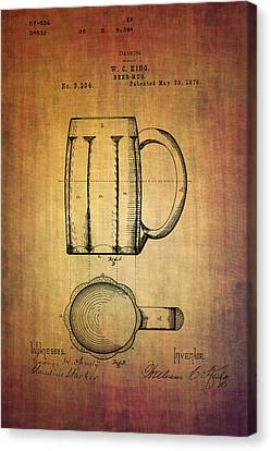 W.c.king Beer Mug Patent From 1876 Canvas Print by Eti Reid