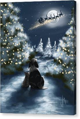Snowy Night Night Canvas Print - We Are So Good by Veronica Minozzi