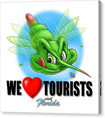 We Love Tourists Mosquito Canvas Print by Scott Ross