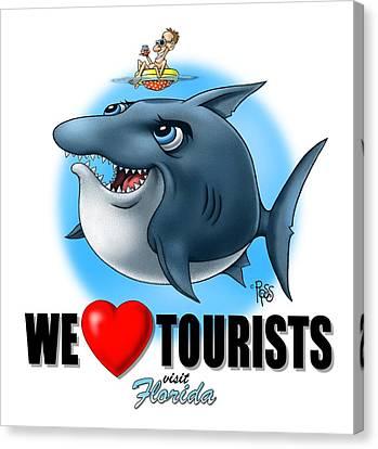 Canvas Print featuring the digital art We Love Tourists Shark by Scott Ross