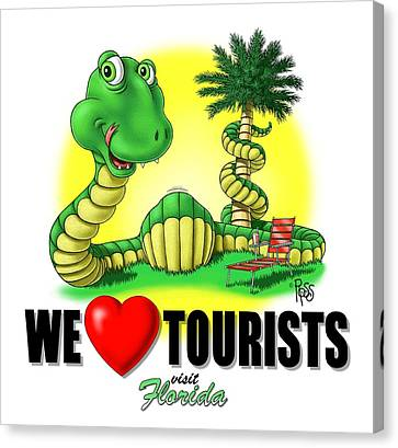 We Love Tourists Snake Canvas Print by Scott Ross