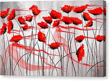 Red And Gray Canvas Print - We Remember- Red Poppies Impressionist Painting by Lourry Legarde