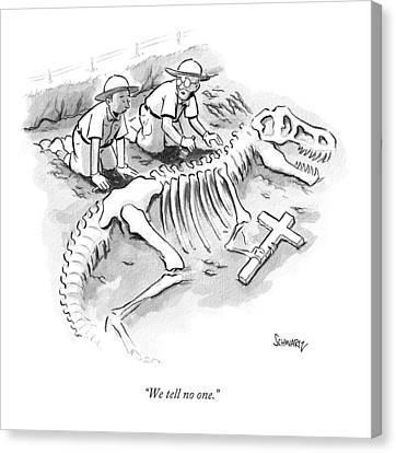 T-rex Canvas Print - We Tell No One by Benjamin Schwartz