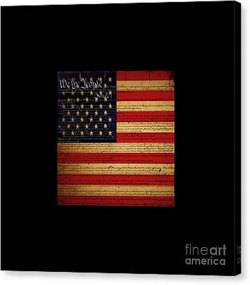 We The People - The Us Constitution With Flag - Square Black Border Canvas Print by Wingsdomain Art and Photography
