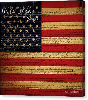 We The People - The Us Constitution With Flag - Square V2 Canvas Print by Wingsdomain Art and Photography